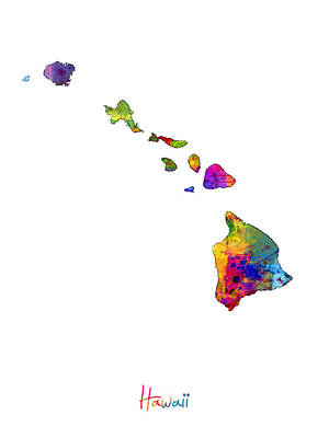 Hawaii Map Art Print by Michael Tompsett