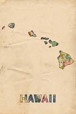 United Painting - Hawaii Map Vintage Watercolor by Florian Rodarte