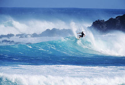 Hawaii, Maui, Hookipa Beach Park, Pavillions, Surfer Carving Top Of Wave. Art Print by Ron Dahlquist
