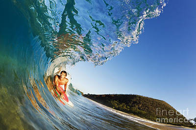Hawaii, Maui, Makena - Big Beach, Boogie Boarder Riding Barrel Of Beautiful Wave, Sunrise Light. Art Print by MakenaStockMedia