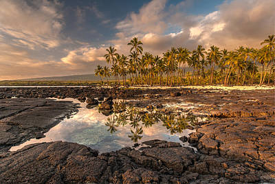 Hawaii Place Of Refuge Tidepools Sunset Art Print by Mike Reid