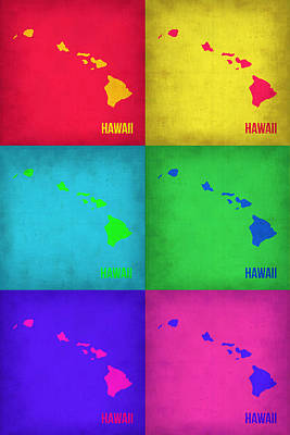 Hawaii Painting - Hawaii Pop Art Map 1 by Naxart Studio