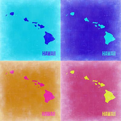 Modern Poster Painting - Hawaii Pop Art Map 2 by Naxart Studio