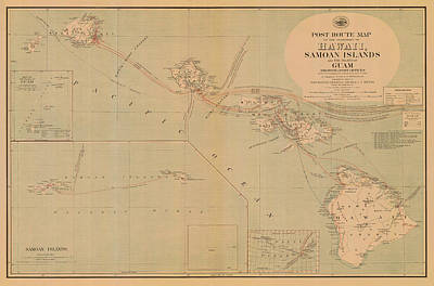 Photograph - Hawaii Postal Route Map 1908 by Andrew Fare