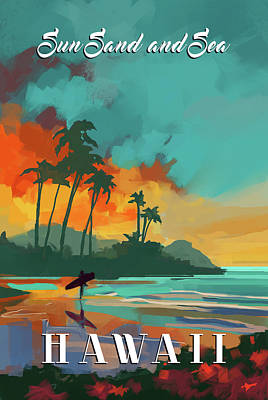 Signed Poster Painting - Hawaii by P.s