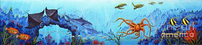 Hawaii Sea Turtle Painting - Hawaii Sea Life by Jerome Stumphauzer