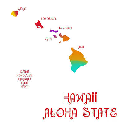 Digital Art - Hawaii State Map Collection 2 by Andee Design