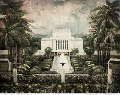Painting - Hawaii Temple Laie Antique by Marcia Johnson