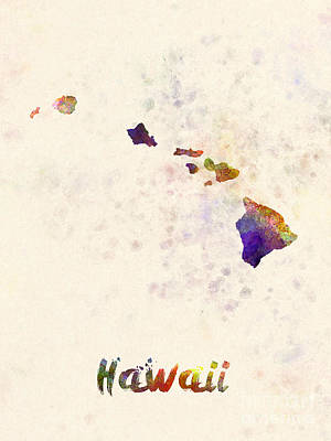 Cartography Painting - Hawaii Us State In Watercolor by Pablo Romero
