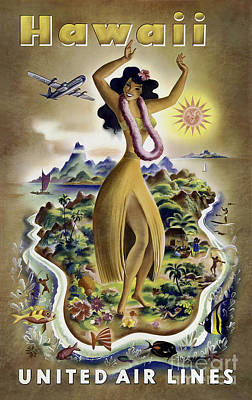 Hula Photograph - Hawaii Vintage Travel Poster by Jon Neidert