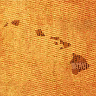 Hawaii Word Art State Map On Canvas Art Print by Design Turnpike
