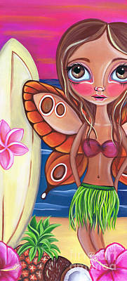Tropical Fruit Painting - Hawaiian Fairy by Jaz Higgins