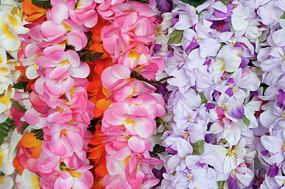 Lei Photograph - Hawaiian Flower Garlands Display by Daisy Gilardini