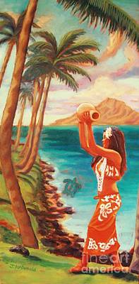 Painting - Hawaiian Hula Wahine by Janet McDonald