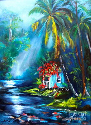 Hawaiian Hut In The Mist Art Print