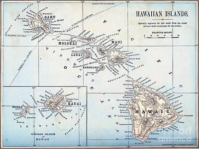 Drawing - Hawaiian Islands - 1898 by Pg Reproductions
