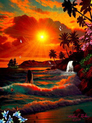 Digital Art - Hawaiian Islands by Michael Rucker