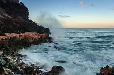 Art Print featuring the photograph Hawaiian Lava Rocks And Crashing Waves by RC Pics