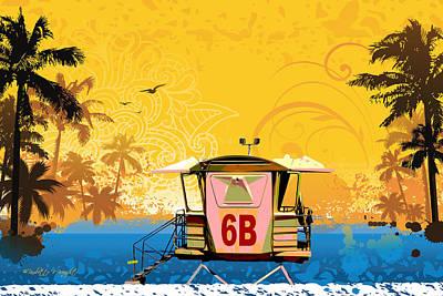 Digital Art - Hawaiian Lifeguard Station by Paulette B Wright