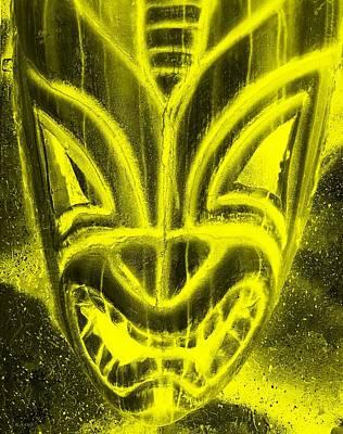 Science Tees Rights Managed Images - Hawaiian Mask Negative Yellow Royalty-Free Image by Rob Hans