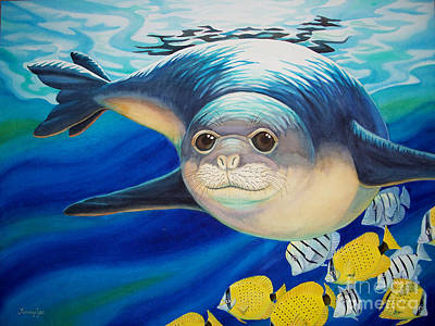 Painting - Hawaiian Monk Seal For Noaa Monk Seal Recovery Program by Tammy Yee