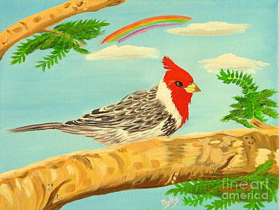 Painting - Hawaiian Red Crested Cardinal by Phyllis Kaltenbach