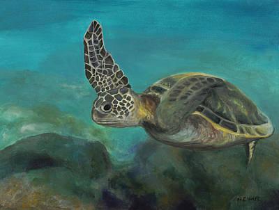 Hawaii Sea Turtle Painting - Hawaiian Sea Turtle by Beth Wolfe