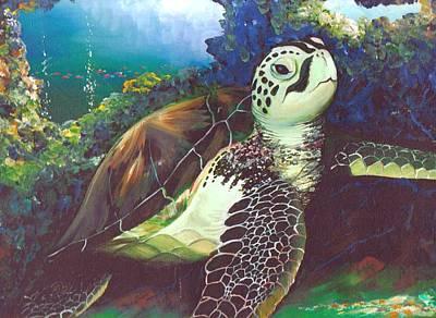 Hawaii Sea Turtle Painting - Hawaiian Sea Turtle by Linda Briggs