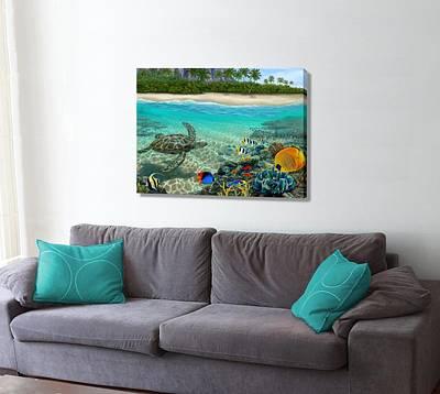 Hawaiian Fish Digital Art - Hawaiian Sea Turtle On The Wall by Stephen Jorgensen