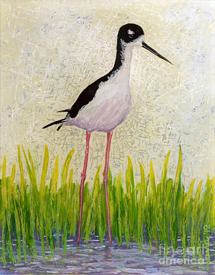 Reverse Acrylic On Plexiglass Painting - Hawaiian Stilt by Anna Skaradzinska