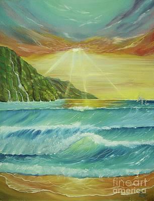Hawaiian Sunset Art Print by Gigi  Cook