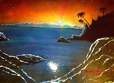 Art Print featuring the painting Hawaiian Sunset by Michael Rucker