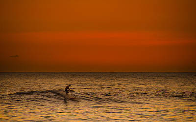 Photograph - Hawaiian Sunset Surfing by Tin Lung Chao