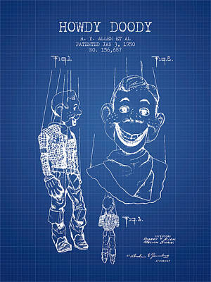 Howdy Drawing - Hawdy Doody Patent From 1950 - Blueprint by Aged Pixel