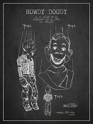 Howdy Drawing - Hawdy Doody Patent From 1950 - Charcoal by Aged Pixel