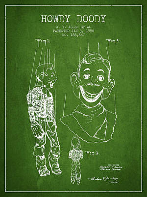 Howdy Drawing - Hawdy Doody Patent From 1950 - Green by Aged Pixel