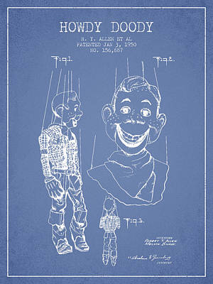 Howdy Drawing - Hawdy Doody Patent From 1950 - Light Blue by Aged Pixel