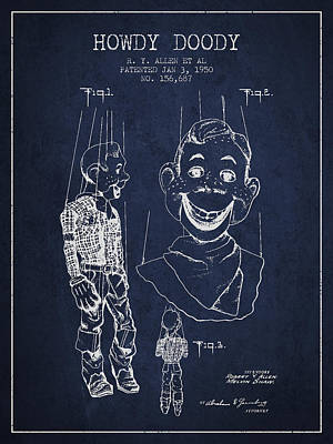 Howdy Drawing - Hawdy Doody Patent From 1950 - Navy Blue by Aged Pixel