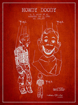 Howdy Drawing - Hawdy Doody Patent From 1950 - Red by Aged Pixel