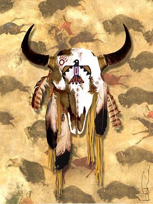 Painted Buffalo Skull Mixed Media - Hawk Buffalo Skull by R Mark Heath