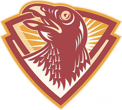 Hawk Head Shield Retro Art Print by Aloysius Patrimonio
