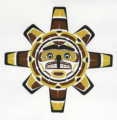 Kwakiutl Sun Mask Painting - Hawk Sun Mask by Shane Flood Baker