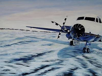 Art Print featuring the painting Hawker - Airplane On Ice by Marilyn  McNish