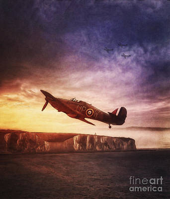 Soldier Painting - Hawker Hurricane Over Dover By Shawna Mac by Shawna Mac