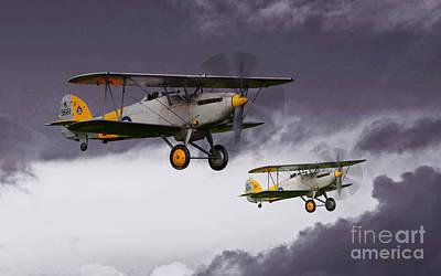 Bi Plane Digital Art - Hawker Nimrod II by J Biggadike
