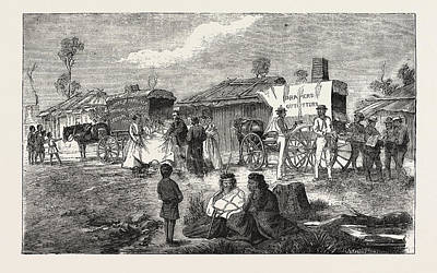Georgetown Drawing - Hawkers At An Aboriginal Station, Australia by Australian School