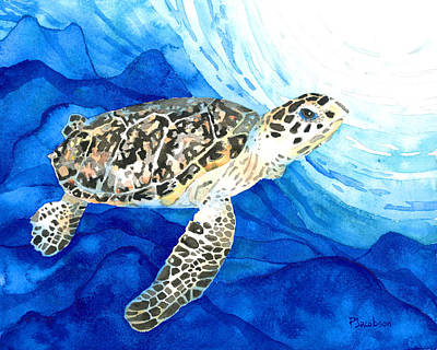 Painting - Hawksbill Sea Turtle 2 by Pauline Walsh Jacobson