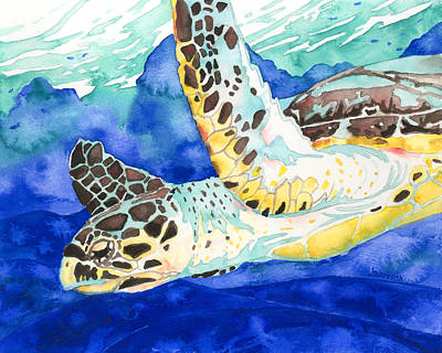Painting - Hawksbill Sea Turtle by Pauline Walsh Jacobson