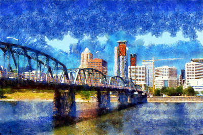 Digital Art - Hawthorne Bridge by Kaylee Mason