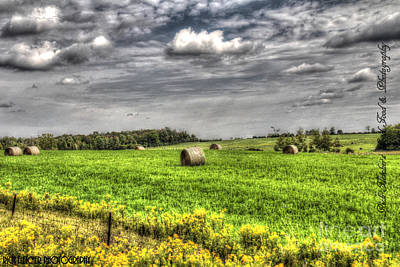 Hay Bales And Storm Clouds Print by Rich Fletcher